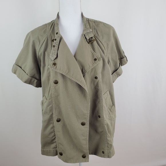 Madewell olive green short sleeve jacket small